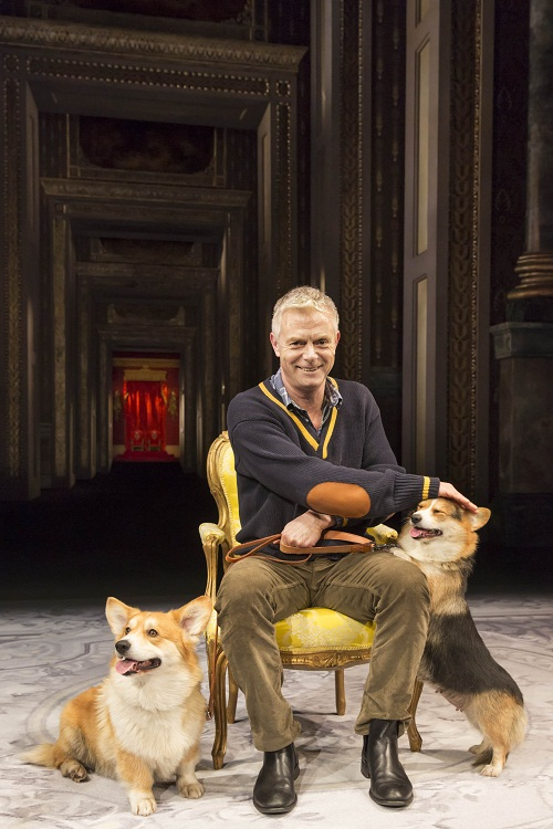 Director Stephen Daldry with corgis Rocky and Coco
