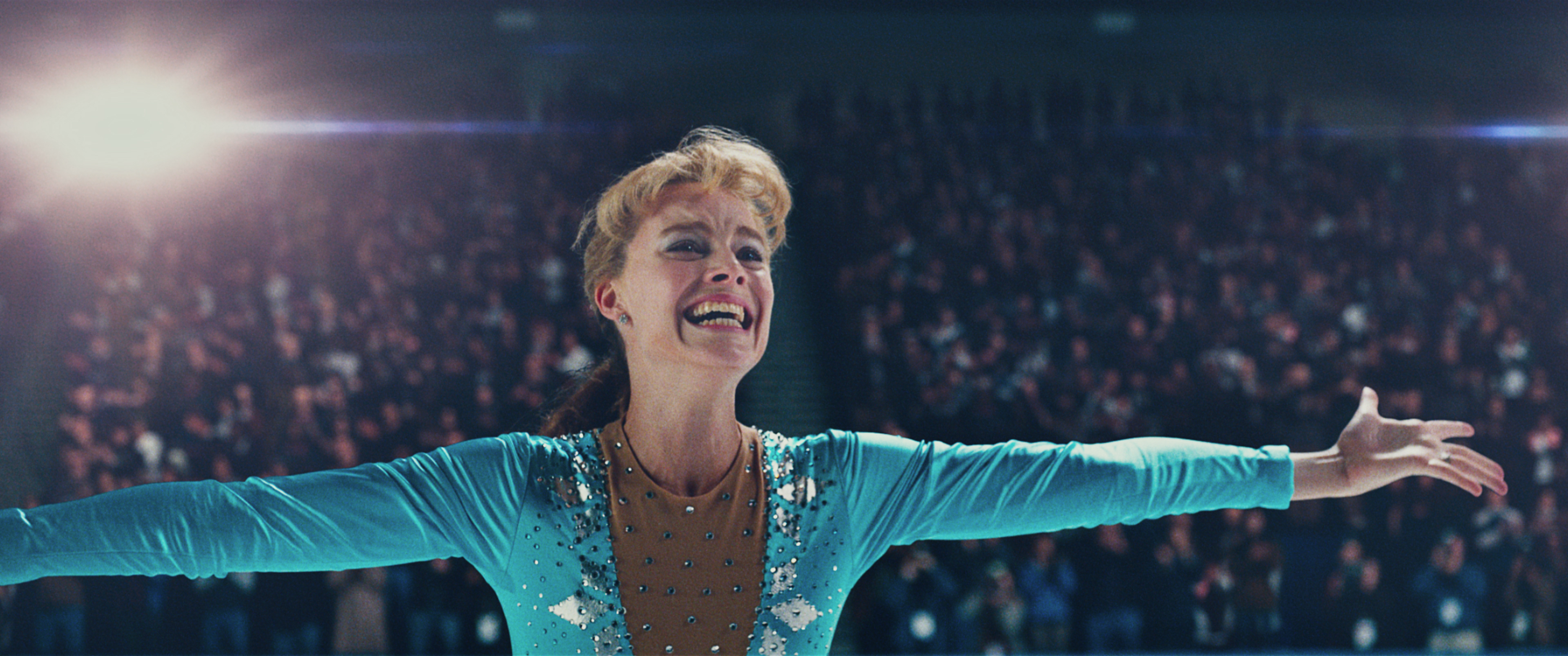 1- Tonya Harding (Margot Robbie) after landing the triple axel in I, TONYA, courtesy of NEON and 30WEST