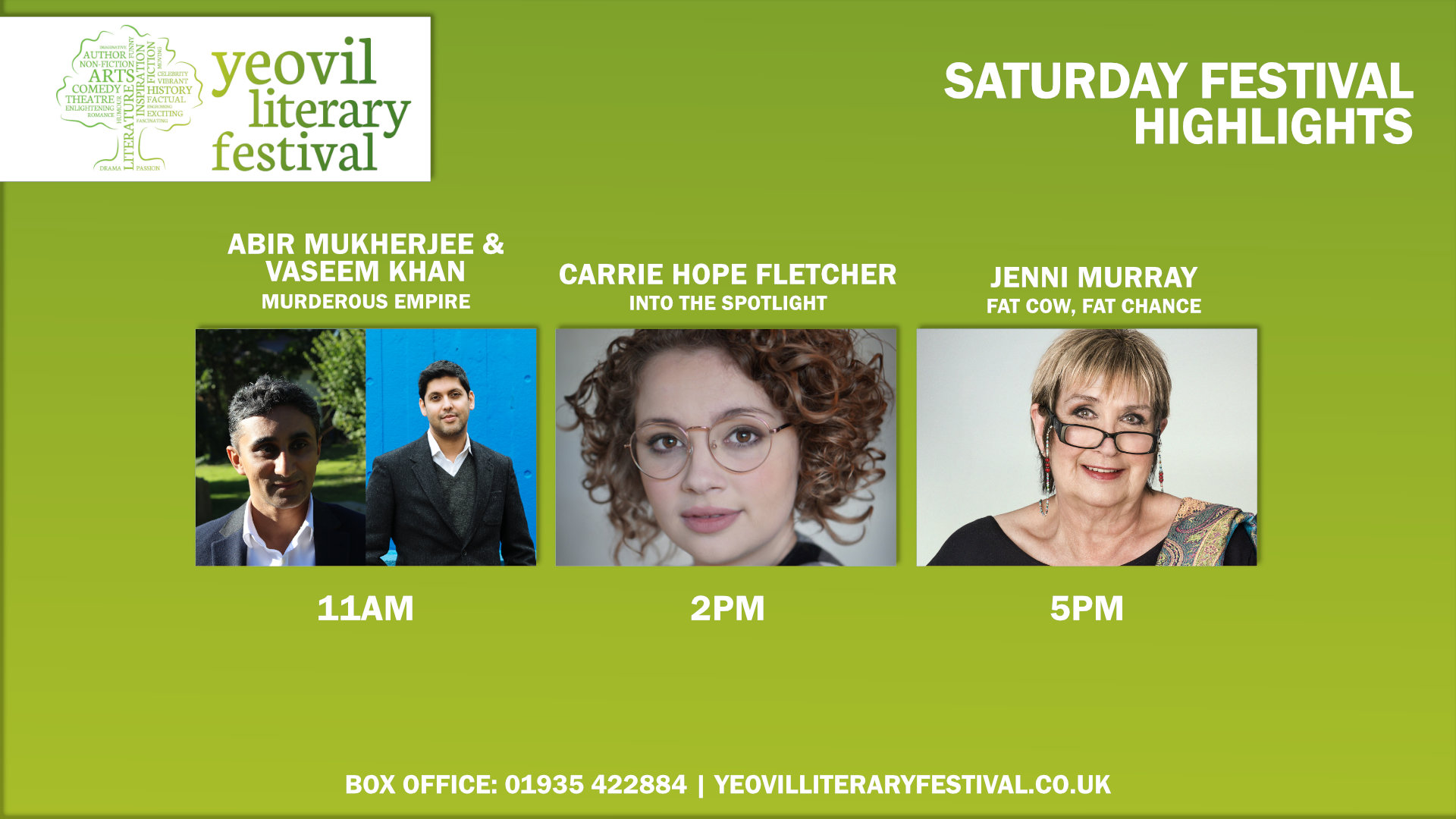 Yeovil Literary Festival - Saturday Festival Highlights